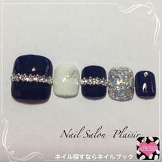 Cute Toe Nails, Toe Nail Art, Acrylic Nails, Navy Nails, Bling Nails, Diy Nail Designs, Simple Nail Designs, Navy Blue Nail Designs, Nails To Go