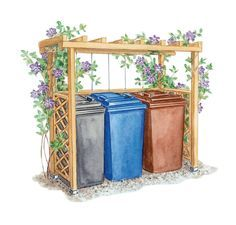 Hide garbage cans: The perfect privacy- Mülltonnen verstecken: Der perfekte Sichtschutz From trellis you can build a natural garbage bin hiding place, which can be planted with fast-growing plants and fits wonderfully into a cottage garden. Diy Garden, Garden Projects, Home And Garden, Garden Care, Herbs Garden, Garden Trellis, Pallet Projects, Garden Ideas, Hide Trash Cans