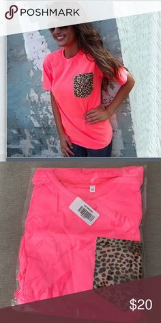 Brand new! Hot pink top with leopard pocket Adorable brand new in package cotton hot pink T with leopard pocket! Tops Tees - Short Sleeve