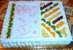 Ovocná torta plnená žĺtkovým krémom s 5 druhmi ovocia. Ako stvorená pre slávnostné príležitosti.  RECEPT: http://ikuchar.sk/recept/slavnostna-ovocna-torta/