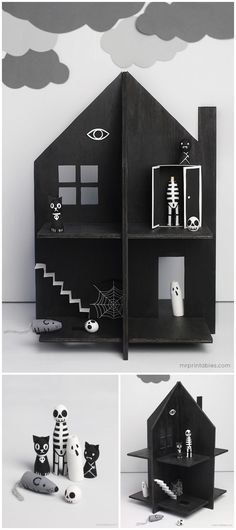 DIY Haunted House Dollhouse Tutorial and Template from Mr Printables.Make this DIY Haunted House Dollhouse out of cardboard, plywood or thick card material. Also, you can skip the black paint and make...