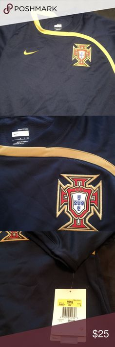 new nike portugal navy blue soccer jersey size sm this nike jersey is brand new and
