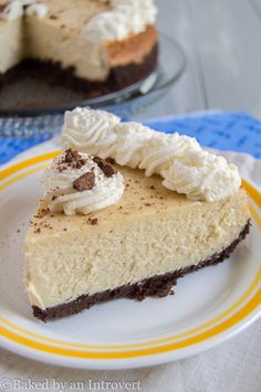 Cappuccino Cheesecake - Ultra dense and rich homemade cheesecake flavored with vanilla cappuccino on top of a buttery, chocolate graham cracker crust!!
