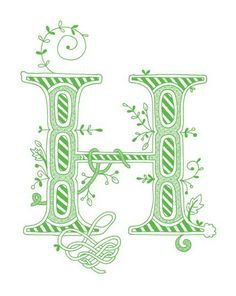 Hand drawn monogrammed print, 8x10, the Letter H, in the color green. $15.00, via Etsy.
