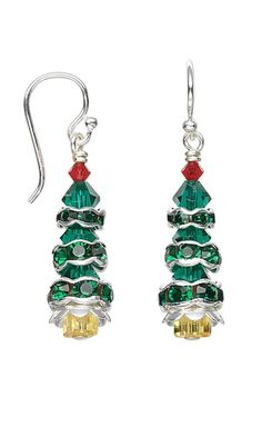 Christmas Tree Earrings with SWAROVSKI ELEMENTS by Jamie Smedley. #christmasjewelry #holiday