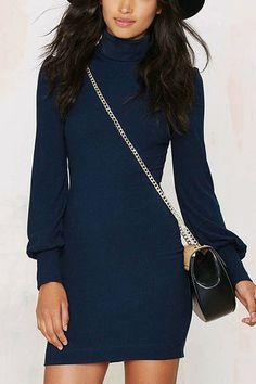 Poll Neck Bodycon Dress in Blue