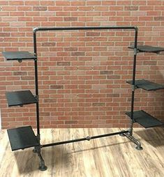 Industrial Pipe Clothing Rack with Wood Side Shelves | eBay