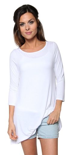 Free to Live Women's Long Flowy Elbow Sleeve Jersey Tunic