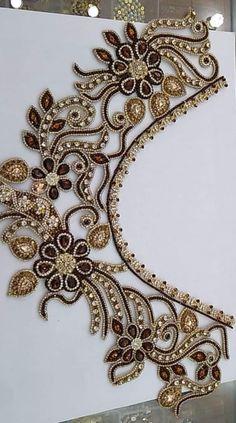 Tambour Embroidery, Bead Embroidery Patterns, Hand Embroidery Tutorial, Hand Work Embroidery, Couture Embroidery, Embroidery Fashion, Hand Embroidery Designs, Churidar Neck Designs, Motifs Perler