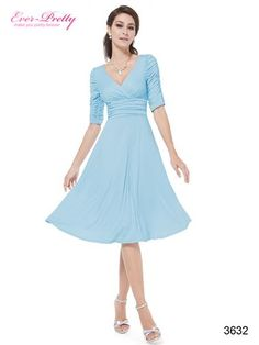 Sexy v neck casual dress 3/4 sleeve style with ruffles Simple, versatile design makes this dress appropriate for a wedding, a party, or casual wearing No padde bra No lining high stretch