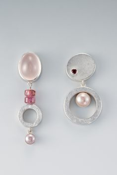 Earrings by Janis Kerman || STERLING SILVER, GARNET, TOURMALINE,ROSE QUARTZ, CULTURED FRESH WATER PEARL (LAVENDER)
