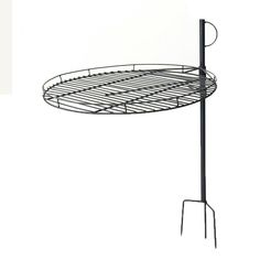 """Sunnydaze 24"""" Black Steel Adjustable Outdoor Fire Pit Cooking Grate #Sunnydaze  Adjustable from 1"""" to 25"""" high you can essentially cook over a ground fire pit or free standing fire pit. The handle on top of stake makes it easy to push stake into ground and pull to remove the stake. Perfect portable cooking grate system or leave it permanently in the ground in your back yard fire pit."""