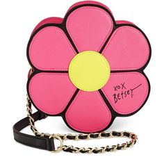Betsey Johnson Flower Crossbody featuring polyvore, fashion, bags, handbags, shoulder bags, pink, purses, daisy handbag, flower purse, betsey johnson handbags, betsey johnson and pink cross body purse
