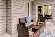 "The outdoor living area of the ""Chesapeake Ranch"" model home by Christopher Companies.#SeasideInteriors"