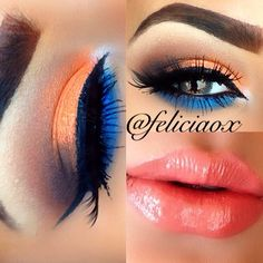 Summer nights Eyeshadows - @anastasiabeverlyhills sienna and orange soda. Lorac pro palette - nude and expresso. @ colourchasecosmetics ultra rich pigments saffron and cobalt blue. Eyeliner - @ illamasqua @ feliciaox