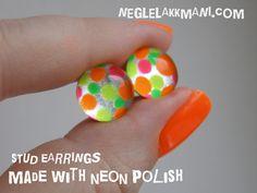Stud #earrings made with nail polish