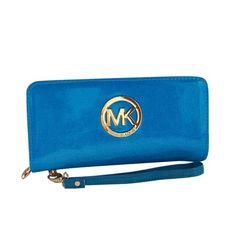 Michael Kors Smooth Shiny Logo Large Blue Wallets