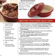German Chocolate Lava Cake - Pampered Chef  This is so good!  You can double the recipe and use a full box of cake mix and do it in the deep covered baker instead. www.pamperedchef.biz/emilywade