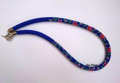 Long Dark Blue  Red Flowers Bead Crochet Necklace  by alevduzen