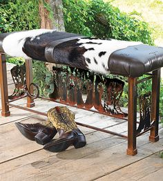 Boot Bench with Cowhide | Western Decor                                                                                                                                                                                 More