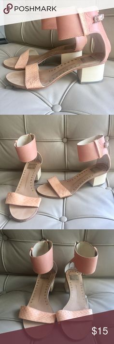 {Dolce Vita} Heeled sandals Pale pink heeled sandals from Dolce Vita! The heel is made of wood and the pale pink parts are made of leather. Worn a couple of times but the only signs of wear are on the soles. Dolce Vita Shoes Sandals