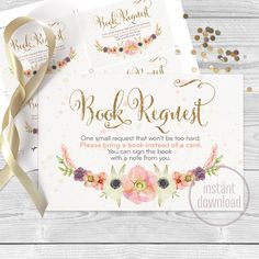Floral bohemian baby shower book request insert. Instant download Watercolor glam gold glitter pastel bohemian card. 049CMPEX 050CMPEX 051 C