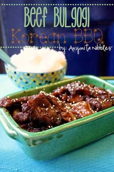 Beef Bulgogi & Rice--Korean BBQ made a few changes to make just as a sauce. A little pineapple juice instead of pears...it was alright.