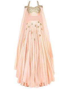 Pastel pink and gold floral embroidered floor length sleeves lehenga set available only at Pernia's Pop Up Shop. Indian Fashion Dresses, Indian Gowns Dresses, Indian Designer Outfits, Indian Outfits, Designer Dresses, Stylish Dresses, Casual Dresses, Doll Style, Lehnga Dress