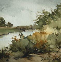 "2013, Upper Ranch Creek by Joseph Alleman Watercolor ~ 8"" x 8"""