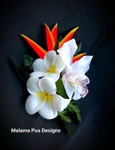 ORCHID & PLUMERIA FLOWER Clip, Bridal, Silk Hair Flowers, Hair Accessory, Hawaiian Flowers, Bridesmaid, Headpiece, Beach Wedding, Hair Comb by MalamaPua on Etsy