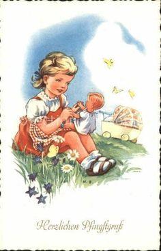 ka83109 Pfingsten Kind Puppe Kinderwagen Schmetterlinge Blumen Kat. Greetings