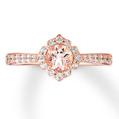 Morganite Engagement Ring 1/3 ct tw Diamonds 14K Rose Gold