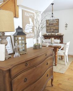 The Long Awaited Home: Decorating for Easter.  White & Wood neutral cottage farmhouse home.  Buffet/Homegoods.