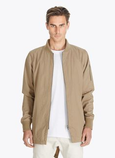 Long bomber jacket tan