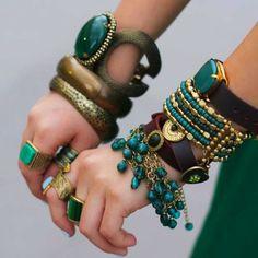 Adornments, bracelets, jewelry, bohemian, boho, hippie, turquoise, brass, leather