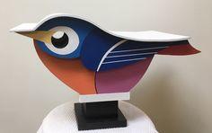 Homemade Bird Houses, Bird Houses Diy, Bird House Feeder, Bird Feeders, Modern Birdhouses, Painted Bunting, Wooden Bird, Exotic Birds, Wooden Crafts