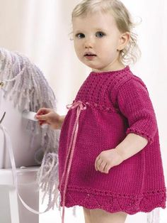 Knitting - Children's Corner - Baby Knitting Patterns - Cotton Candy Dress - #FK00097