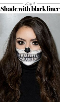 This Half-Skeleton Halloween Make-up Is Scary Good -You can find Skeleton makeup and more on our website.This Half-Skeleton Halloween Make-up Is Scary Good - Easy Skeleton Makeup Tutorial, Half Skeleton Makeup, Halloween Skeleton Makeup, Half Skull Makeup, Halloween Tutorial, Halloween Makeup Looks, Sexy Skeleton Costume, Skeleton Face Paint Easy, Skull Makeup Tutorial