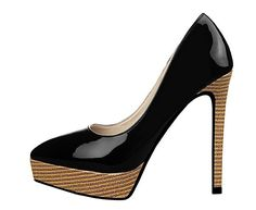 Petersk Pumps Womens Slip On Wood Grain Platform Pointed Toe Stiletto High Heel Pump Shoes *** To view further for this item, visit the image link.