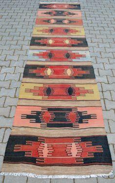 Turkish-Hand-Woven-Kilim-Runner-39-x-13-Anatolia-Wool-Kelim-Rug-Actual-39x156