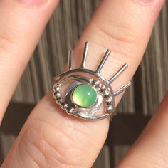 Evil eye 👁 / custom chrysoprase ring // blueandblueshop.etsy.com