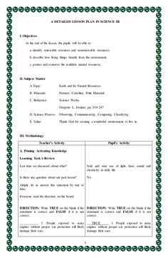 Science Lesson Plan for Kindergarten Unique 1 A Detailed Lesson Plan In Science Iii I Objectives at Grade 1 Lesson Plan, Lesson Plan Pdf, Lesson Plan Format, Lesson Plan Examples, Health Lesson Plans, English Lesson Plans, Daily Lesson Plan, Science Lesson Plans, Teacher Lesson Plans