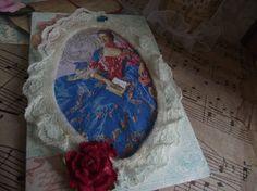 Ruffle Mat Frame Of Marie Antoinette Red  Rose Blue by mslizz, $6.00
