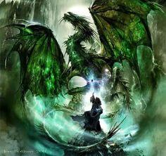 007cd18641d66 Un dragon vert et un magicien. Dragon Vert, Paysage Fantastique, Fantaisie,  Galerie