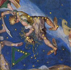 Zodiac and Costellations (detail), fresco on ceiling of Hall of Maps, Palazzo Farnese at Caprarola, Italy, 1574. Perseus, from the Cosmography of the Sala del Mappamondo, Villa Farnese, Caprarola, Italy.  The artist is unknown.  1575.  Sword of Zeus, Winged sandals of Hermes, the Hero holds the severed head of Medusa.