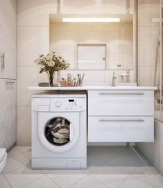 Ideas Bathroom Storage Washing Machine Small Laundry Rooms For 2019 Laundry Bathroom Combo, Modern Bathroom Sink, Small Laundry Rooms, Laundry Room Design, Bathroom Layout, Bathroom Interior Design, Bathroom Storage, Cabinet Storage, Bathroom Vanities