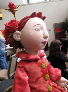 shelley thornton  One of her exquisite fabric dolls, made from scratch with joints hand made,hair stuffed, embroidered face. sits and stands, fully posable.