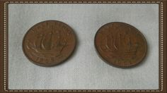 Britain 1966 & 1959 half pence Queen Elizabeth 2 by brianspastimes on Etsy