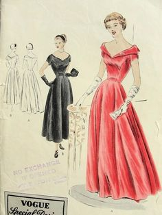 1940s Vogue Special Design 4042 Evening Gown Formal Party Wedding Dress Pattern Dramatic Neckline Tea Length or Full Length GORGEOUS style