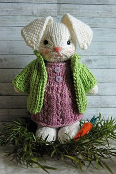 Hand Knitted Bunny Rabbit with Woolen Dress and Jacket by AuntieShrews on Etsy